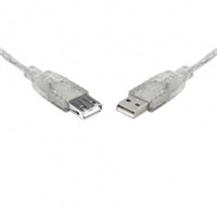 Product Image of Generic USB 2.0 Certified Extension A-A M-F Transparent Metal Sheath Cable 2m